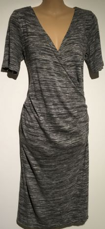 BLOOMING MARVELLOUS MATERNITY GREY WRAP CHEST NURSING DRESS SIZE 12